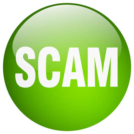 scam: scam green round gel isolated push button