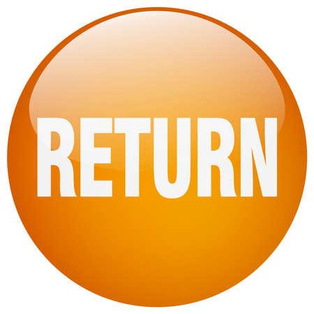 return orange round gel isolated push button