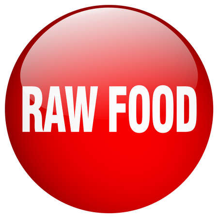 raw food: raw food red round gel isolated push button