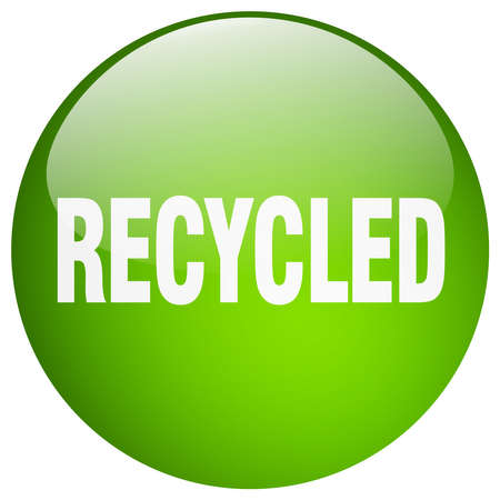 recycled: recycled green round gel isolated push button