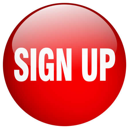 push up: sign up red round gel isolated push button