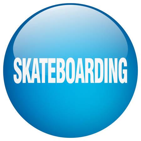 skateboarding: skateboarding blue round gel isolated push button