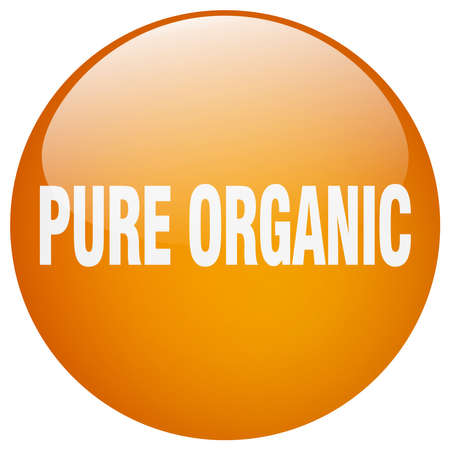 pure: pure organic orange round gel isolated push button