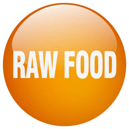 raw food: raw food orange round gel isolated push button