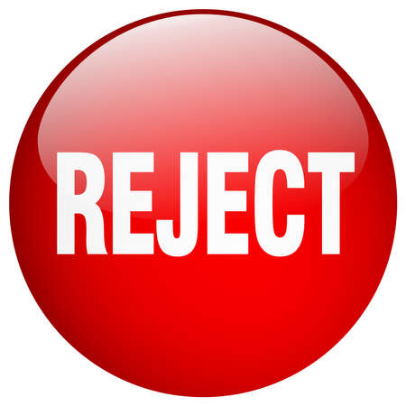 reject: reject red round gel isolated push button