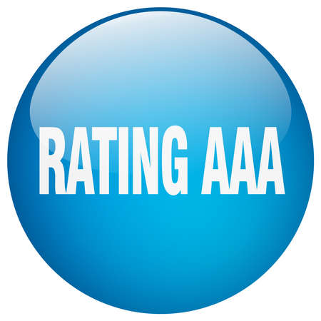 aaa: rating aaa blue round gel isolated push button