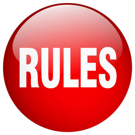 push button: rules red round gel isolated push button
