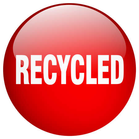 recycled: recycled red round gel isolated push button