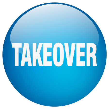 takeover: takeover blue round gel isolated push button