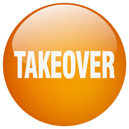 takeover: takeover orange round gel isolated push button