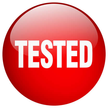 tested: tested red round gel isolated push button
