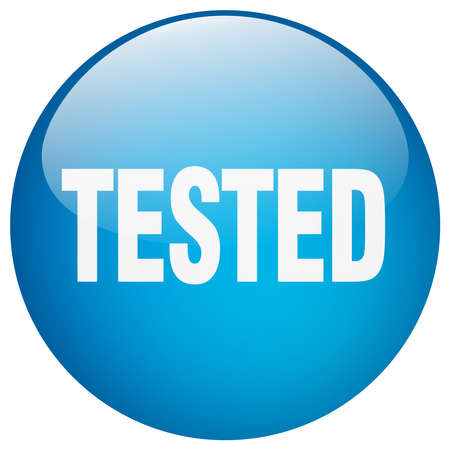 tested: tested blue round gel isolated push button
