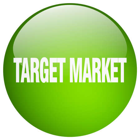 target market: target market green round gel isolated push button