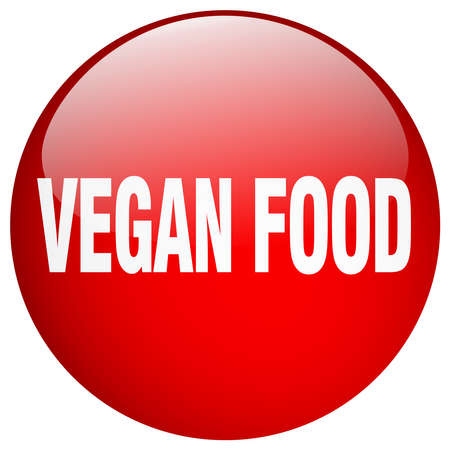 vegan food: vegan food red round gel isolated push button