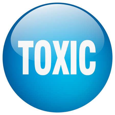 toxic: toxic blue round gel isolated push button Illustration
