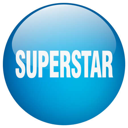 superstar: superstar blue round gel isolated push button Illustration