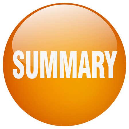 summary: summary orange round gel isolated push button
