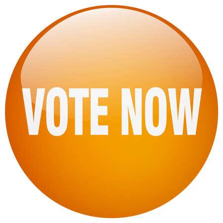 democrats: vote now orange round gel isolated push button