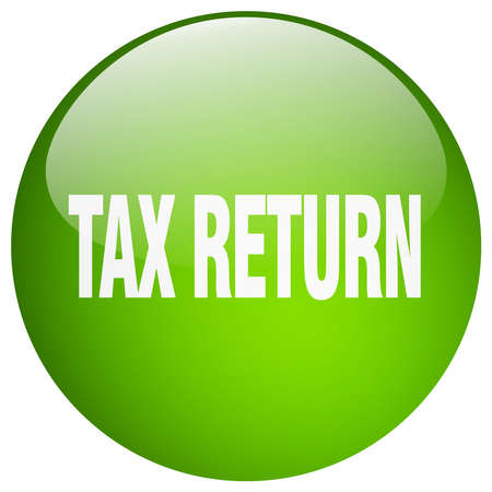 return: tax return green round gel isolated push button