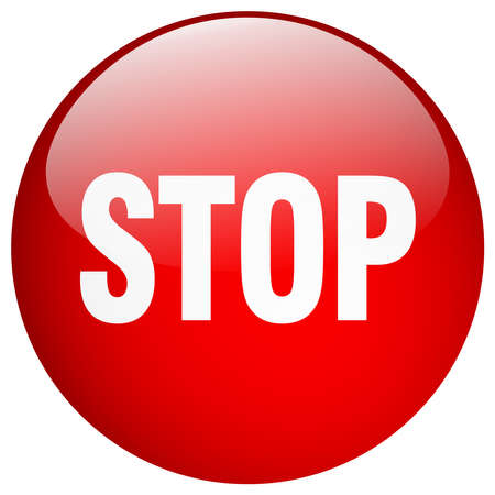 round button: stop red round gel isolated push button