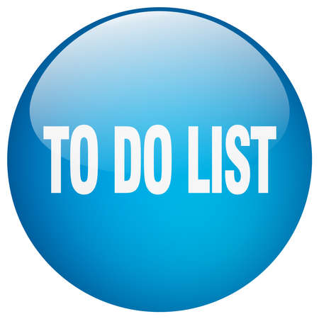 blue button: to do list blue round gel isolated push button