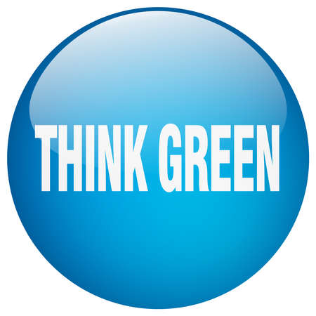 think green: think green blue round gel isolated push button