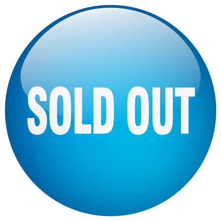 sold out: sold out blue round gel isolated push button