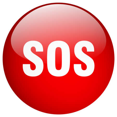 sos red round gel isolated push button Çizim