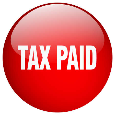 paid: tax paid red round gel isolated push button Illustration