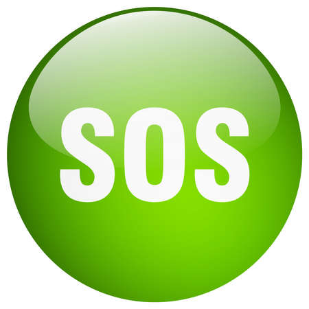 sos: sos green round gel isolated push button