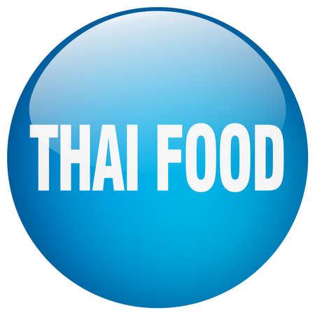 thai food: thai food blue round gel isolated push button