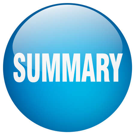 summary blue round gel isolated push button