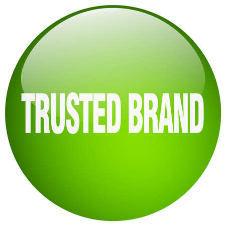 trusted: trusted brand green round gel isolated push button