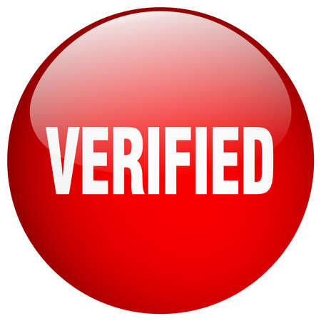 verified: verified red round gel isolated push button