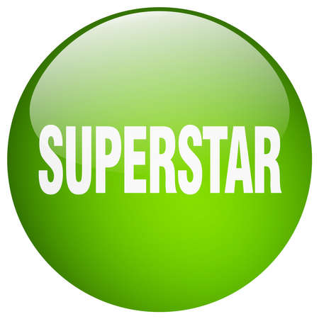 superstar: superstar green round gel isolated push button Illustration
