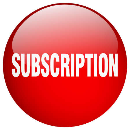 subscription: subscription red round gel isolated push button