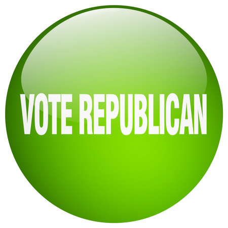 republican: vote republican green round gel isolated push button