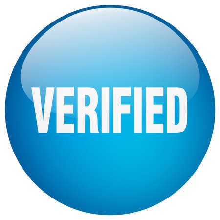 verified: verified blue round gel isolated push button Illustration