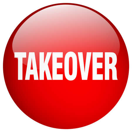 takeover: takeover red round gel isolated push button Illustration