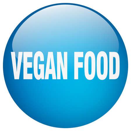 vegan food: vegan food blue round gel isolated push button Illustration