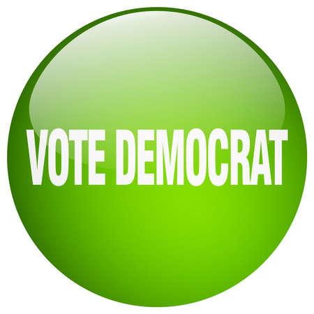 democrat: vote democrat green round gel isolated push button Illustration