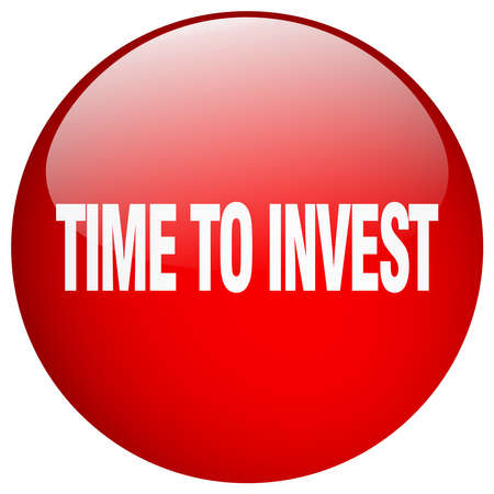 invest: time to invest red round gel isolated push button Illustration