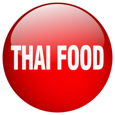 thai food: thai food red round gel isolated push button Illustration