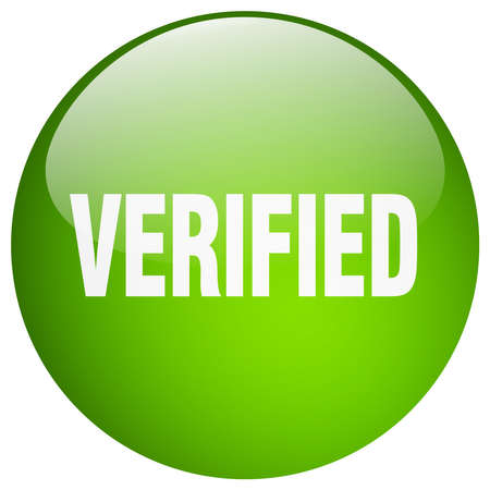 verified: verified green round gel isolated push button