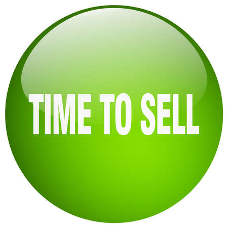 to sell: time to sell green round gel isolated push button