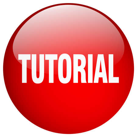 tutorial: tutorial red round gel isolated push button Illustration