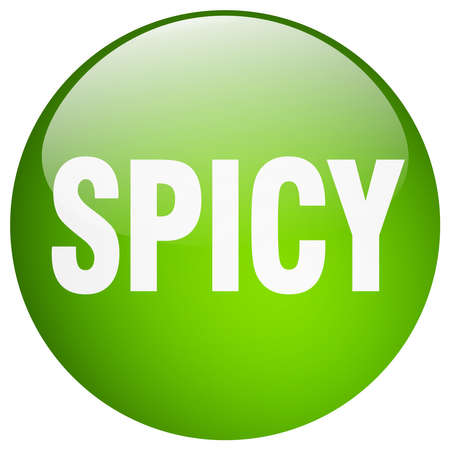 spicy: spicy green round gel isolated push button
