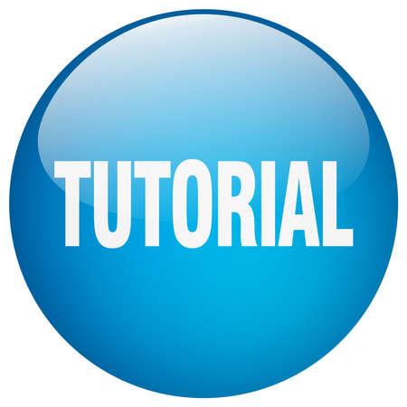 tutorial: tutorial blue round gel isolated push button