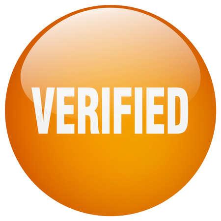 verified: verified orange round gel isolated push button