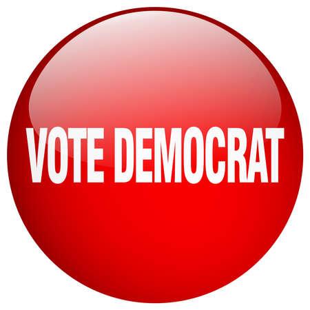 democrat: vote democrat red round gel isolated push button Illustration